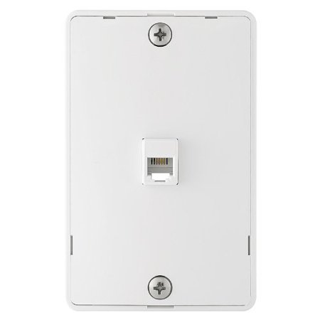 Cooper 3521-4W White Quick Mount Four Wire Telephone Jack and Wall - Wall Mount Wall Plate