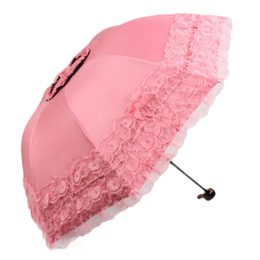 Automatic Lace Princess Foldable Rain Umbrella Anti-UV Folding Parasol Color:Blue