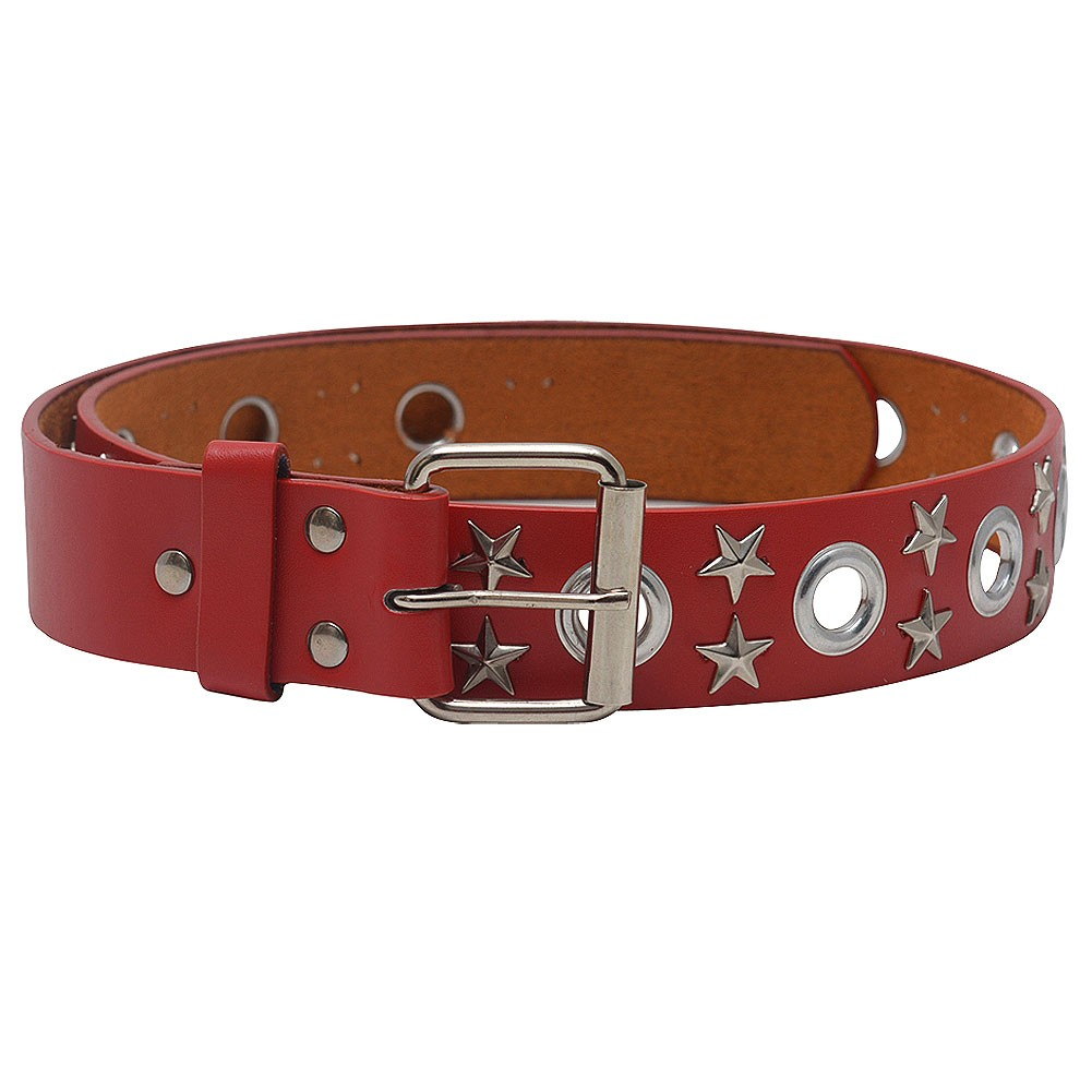 "Womens Red Metallic Eyelet Star Single Prong Buckle Belt S-XL (30""-44"")"