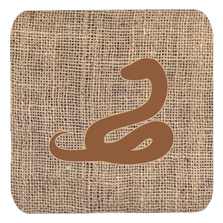 Set of 4 Snake Burlap and Brown Foam Coasters