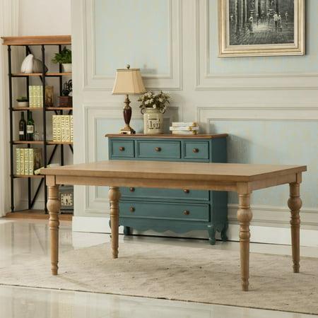 Roundhill Furniture Habitanian 65 in. Rectangular Turned Leg Dining Table