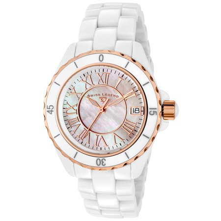 Swiss Legend 20050-Wwrr Karamica White High-Tech Ceramic And Mop Dial Rose-Tone Grey Accents Watch