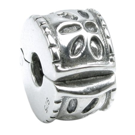 Queenberry Sterling Silver Leaf Flower Clip Lock European Style Stopper Bead Charm Fits (Young Flower Charm)