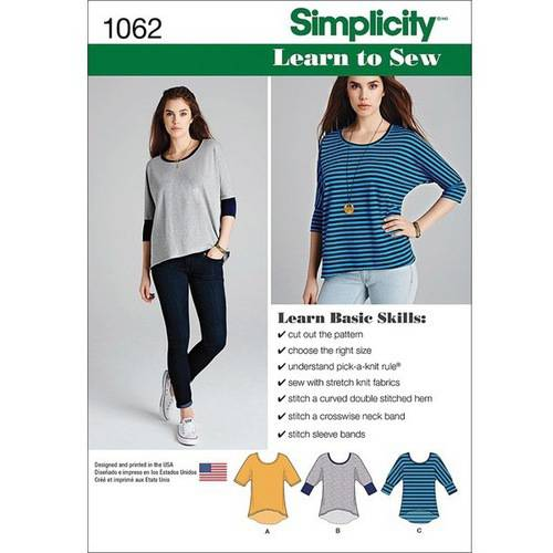 Simplicity Misses' Size XXS-XXL Learn-How-To-Sew- Knit Tops Pattern, 1 Each