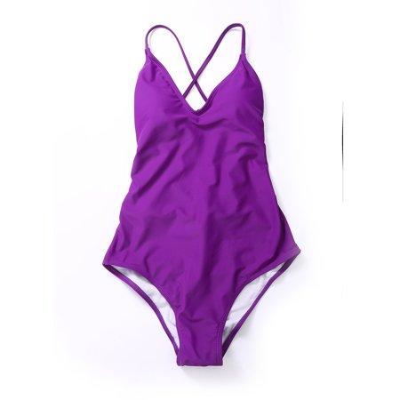 Classic Juniors V-Neck One Piece Swimsuit Halter Push Up Padded Monokini Swimwear Solid Color Bikini Bathing Suits