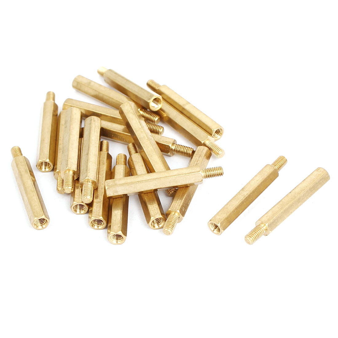 Unique Bargains M3x26mm+6mm Brass Threaded Hexagonal Male-Female Standoff Spacer Pillar 20pcs