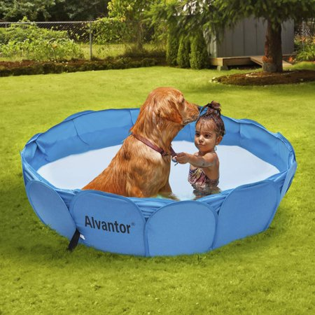 """Alvantor Pet Swimming Pool Dog Bathing Tub Kiddie Pools Cat Puppy Shower Spa Foldable Portable Indoor Outdoor Pond Ball Pit 42""""x12"""" Patent Pending"""