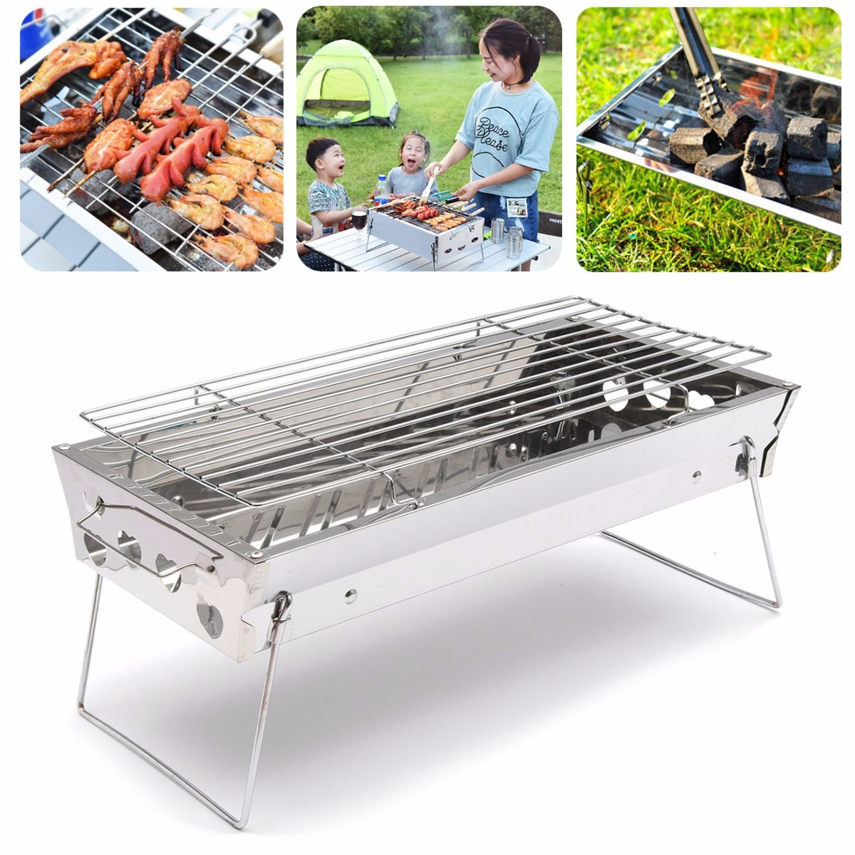 "18"" Thicken Stainless Steel Portable Folding Charcoal BBQ Barbecue Grill Stove Cooking Grate Roasting Garden Party Outdoor Camping Picnic 18*9inch"