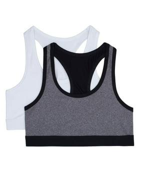 Athletic Works Girls Bra, 2 Pack Micro Stretch Sports Bra (Little Girls & Big Girls)