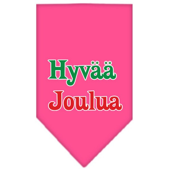 Hyvaa Joulua Screen Print Bandana Bright Pink Large