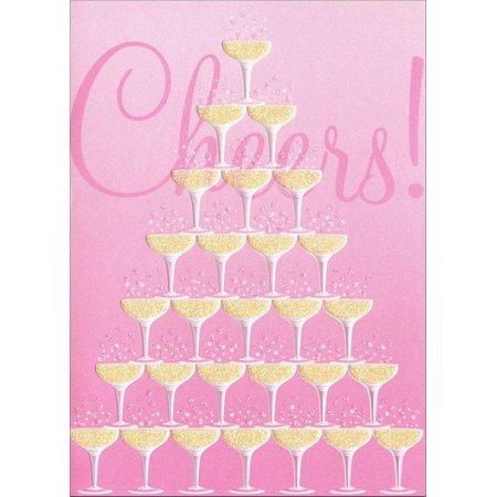 Avanti Press Champagne Glass Tower Wedding / Marriage Congratulations Card (Tower Champagne)