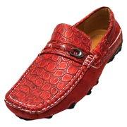 Luxury Divas Men's Italian Crocodile Textured Slip On Loafers