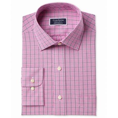 Mens Regular Fit Windowpane Dress Shirt 16 (Windowpane Dress Shirt)