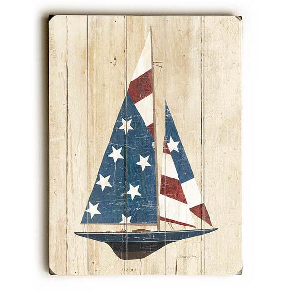"ArteHouse Decorative Wood Sign ""American Flag Sailboat"" by Artist Avery Tillmon, 14"" x 20"", Planked Wood"