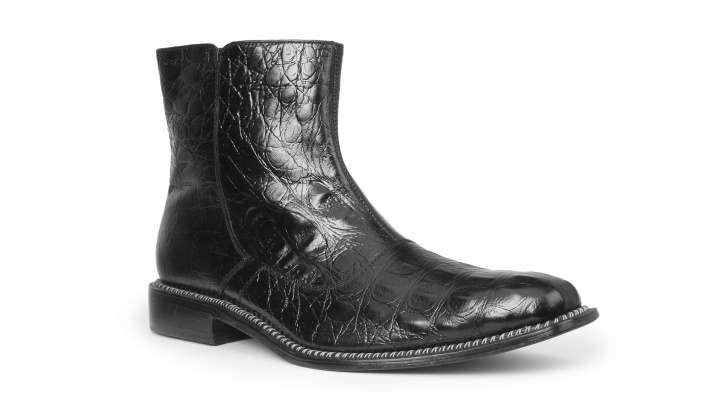 Giorgio Brutini CANTO Mens Black Leather Hornback Print Dress Ankle Boots (10.5 US) by Harbor Footwear