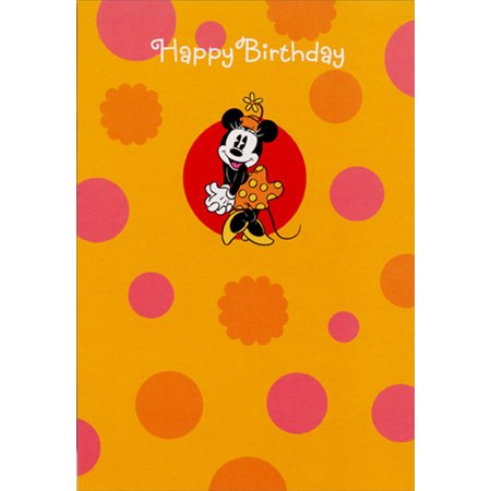 Hallmark Minnie Mouse Orange and Pink Polka Dots Disney Birthday Card for Her](Minnie Mouse Invitation)