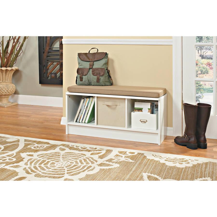 Closet Maid 3 Cube Bench White Mocha Cushion Top Shelf Provides Seating  Durable