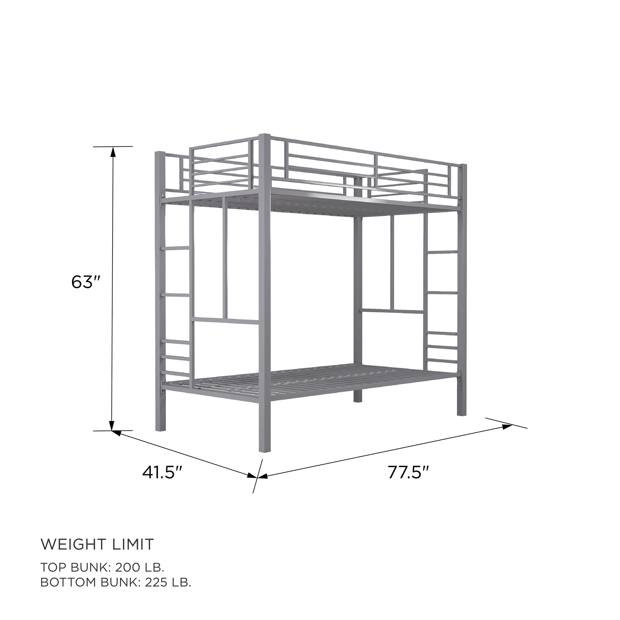 Picture of: Your Zone Twin Over Twin Metal Bunk Bed Walmart Com Walmart Com