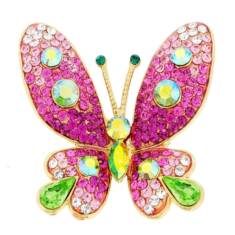 Pink Butterfly Crystal Pin Brooches by