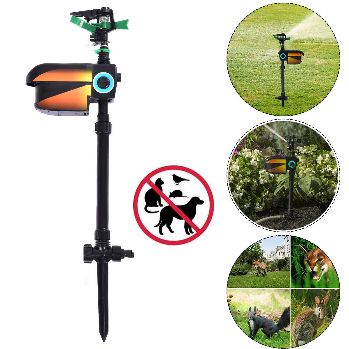 Costway Solar Powered Motion Activated Animal Repellent Sprinkler Black by Costway