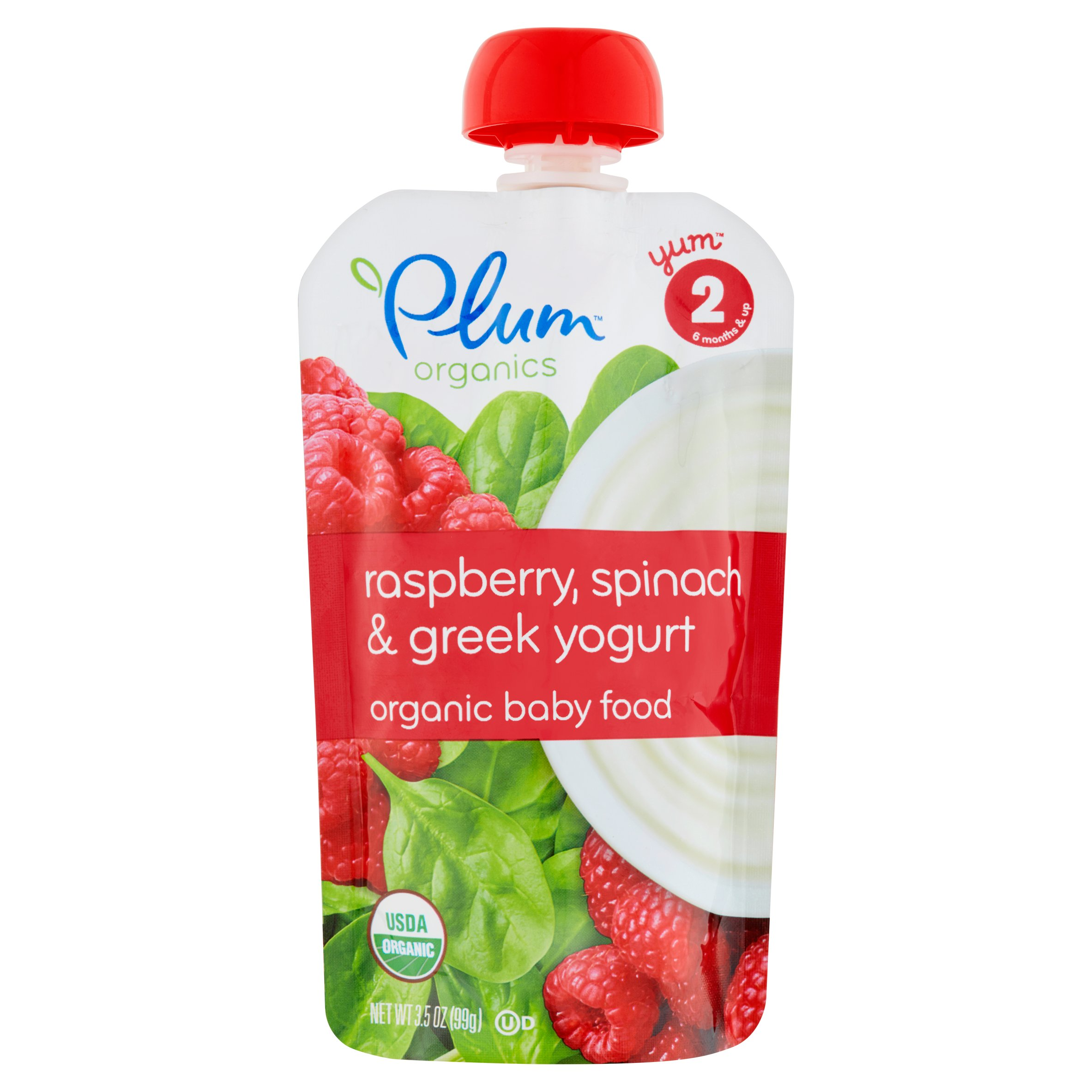 Plum Organics Raspberry, Spinach & Greek Yogurt Organic Baby Food, Stage 2, 6 Months & Up, 3.5 oz
