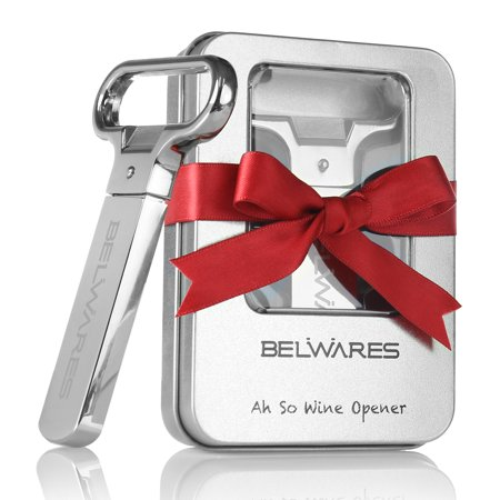 Belwares Vintage Wine Bottle Opener With 2 Prongs | Durable Stainless Steel Cork Puller In Sleek Case | For Red & White Wine, Beer, Soda, Cola, Champagne, Wine Enthusiasts, Personalized Gifts & More