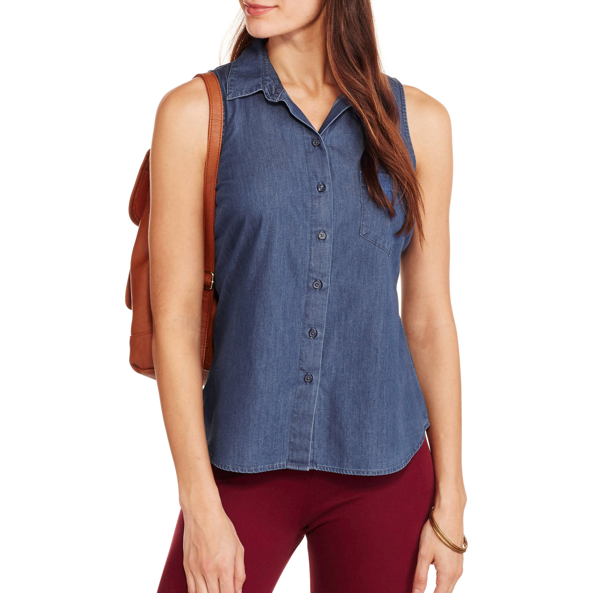 Faded Glory Women's Classic Americana Sleeveless Button-Front Top