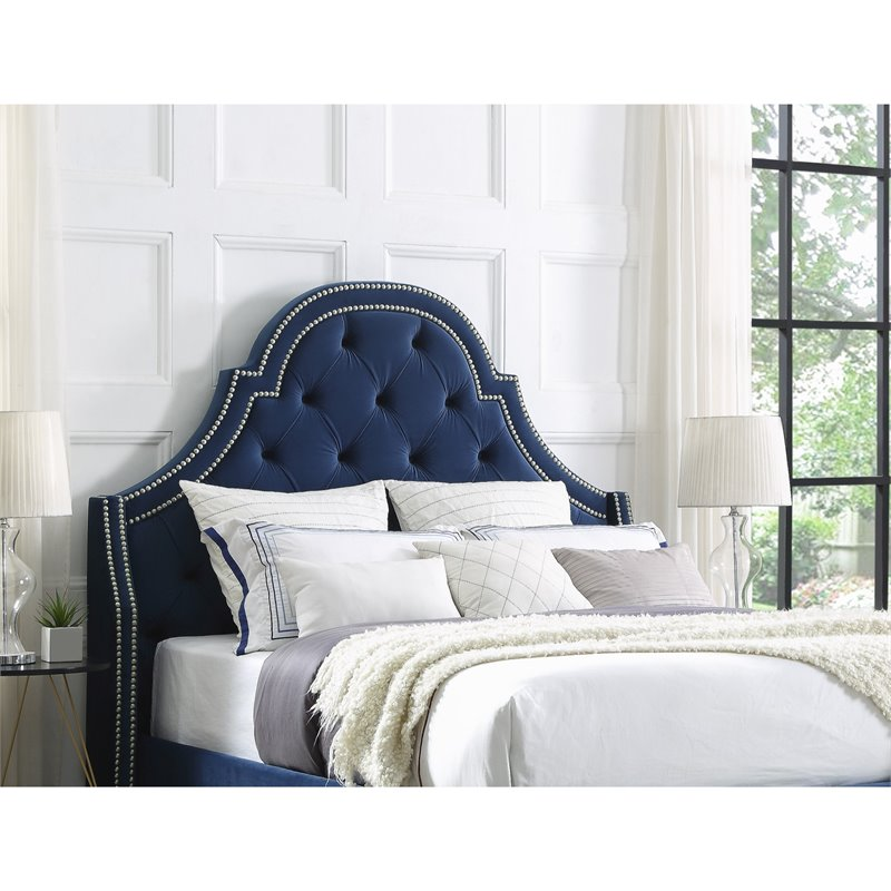 Charmant Aaron Navy Blue Velvet Tufted Headboard   King Size   Upholstered