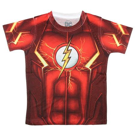 DC Comics The Flash Boys Logo Sublimated Youth T-shirt (Medium)