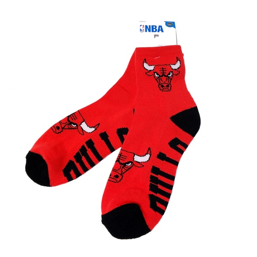 Authentic NBA Chicago Bulls Team Logo Print Red Middle Socks Large