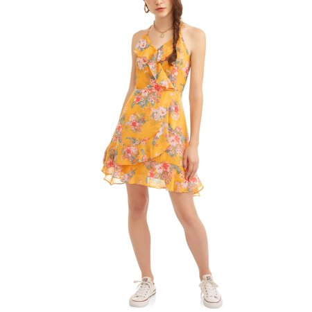 Almost Famous Juniors' Ruffle Surplus Wrap Dress - Famous Pairs Fancy Dress