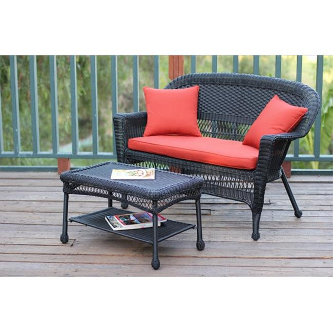 Jeco W00207-LCS018 Black Wicker Patio Love Seat And Coffee Table Set With Red Orange Cushion