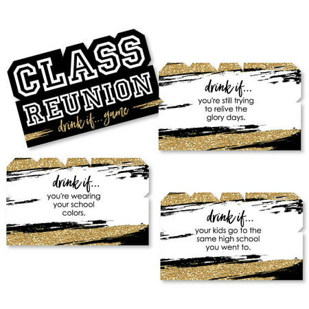 Drink If Game - Reunited - School Class Reunion Party Game - 24 Count - Class Halloween Party Game Ideas