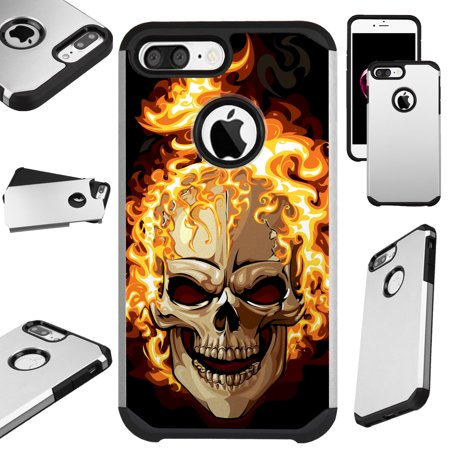 For Apple iPhone 8 / Apple iPhone 7 / Apple iPhone 6 6s Case Hybrid TPU Fusion Phone Cover (Skull Fire) (Fire Phone Case Cover)