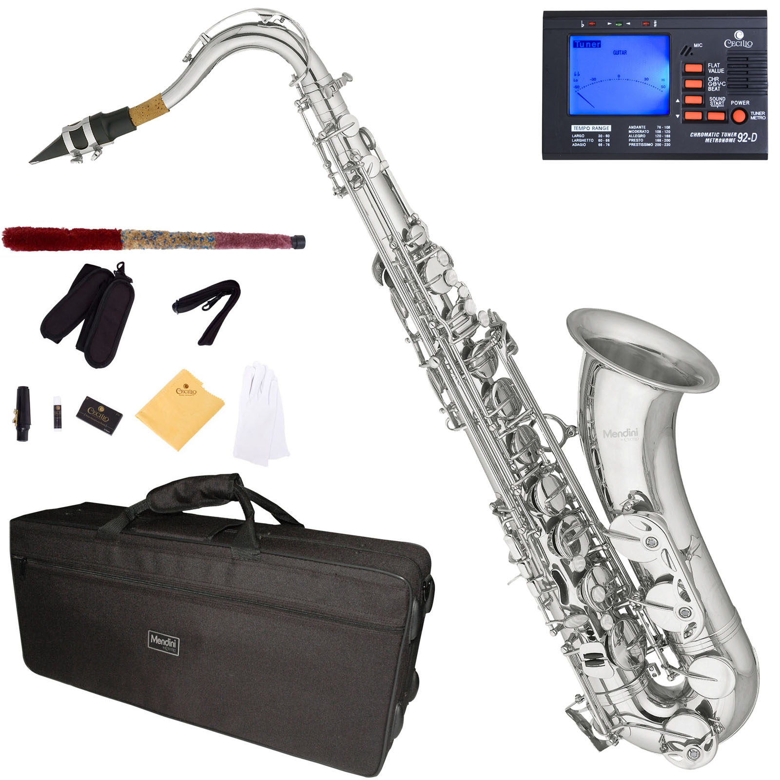 Mendini by Cecilio Bb Tenor Saxophone with Tuner, 10 Reeds, Mouthpiece and Case, MTS-N Nickel Plated