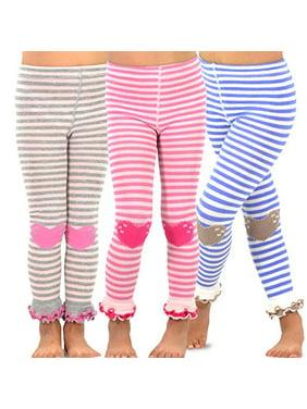 TeeHee Kids Girls Leggings (Footless Tights) with Ruffle Bottom 3 Pair Pack (6-8 Years, Stripe with Heart)