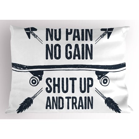 Fitness Pillow Sham Hand Drawn 90s Themed Symbol with Skateboard Ethnic Boho Style Arrows Phrase, Decorative Standard Size Printed Pillowcase, 26 X 20 Inches, Dark Blue White, by - 90s Theme