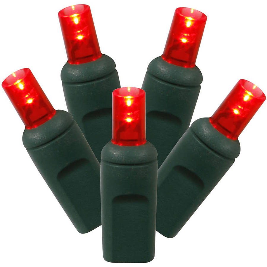 "Vickerman 316832 - 100 Light 34' Green Wire Red Wide Angle LED Lights with 4"" Spacing (X4G6103)"