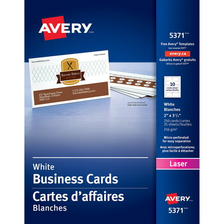 Xerox Business Cards - Avery Printable Business Cards, Laser Printers, 250 Cards, 2 x 3.5 (5371)