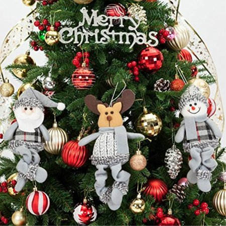 christmas dolls decorations by yoland 3 assorted pieces ornaments animated santa snowman and reindeer plush small - Animated Christmas Dolls