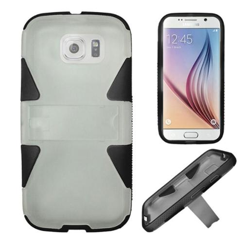 Insten Hard Hybrid Shockproof Rubberized Silicone Cover Case with Stand For Samsung Galaxy S6 - White/Black