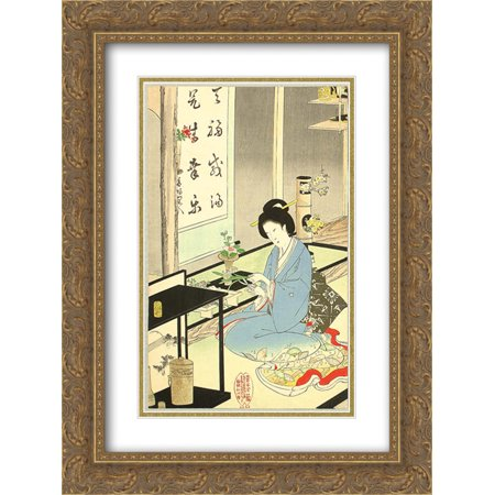 Toyohara Chikanobu 2x Matted 20x24 Gold Ornate Framed Art Print 'Flower Arranging and Tea