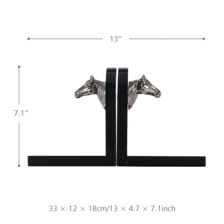 Bookends Decorated with Silvery Horse Head Art Bookend Wooden 1 Pair Study Room Ornament Office Decor - image 6 of 7