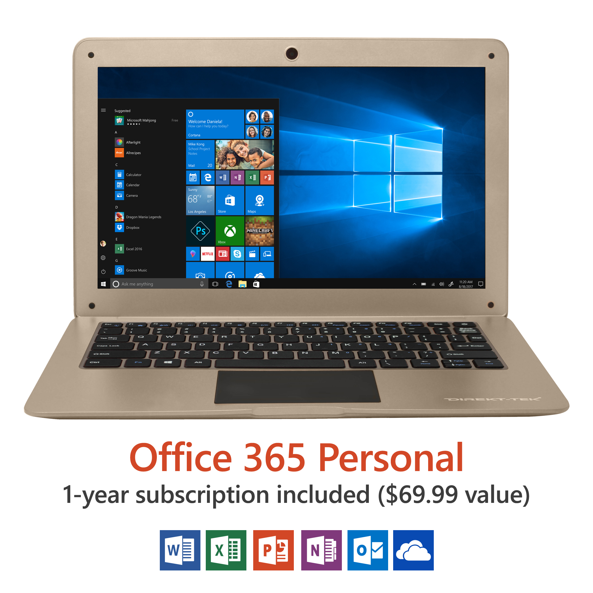 """14"""" Ultra Slim Laptop, Windows 10 Home, Office 365 Personal 1-Year Subscription Included ($69.99 Value), Full HD, Intel Processor, 32GB storage, Front camera with 10 hour battery"""