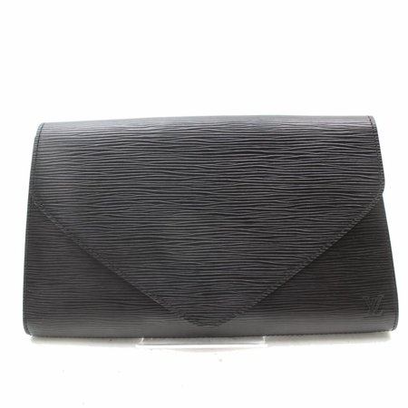 Pochette Noir Art Deco Envelope 869011 Black Leather Clutch