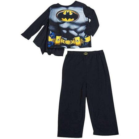 Toddler Boys Batman Long Sleeve 2 Piece Flame Resistant Pajamas Set, 37499 Black with Cape / 3T