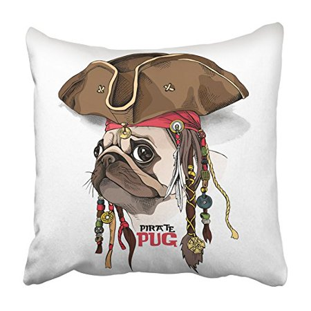 ARHOME Brown Dog Portrait of Pug in Pirate Hat Bandana Dreadlocks Fun Party Head Funny Pillowcase Cushion Cover 18x18 inch