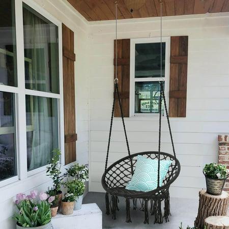 Hammock Chair Macrame Swing Handmade Knitted Hanging Cotton Rope