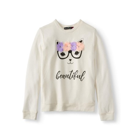 - 3D Kitty Long Sleeve Sweater Knit Top (Big Girls)
