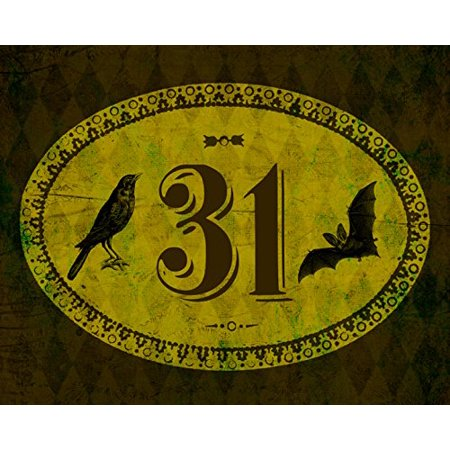 31 Print Scary Date Design Bat and Bird Picture Vintage Diamond Oval Pattern Halloween Decoration Wall Hanging Seasonal Poster - Halloween City Opening Date